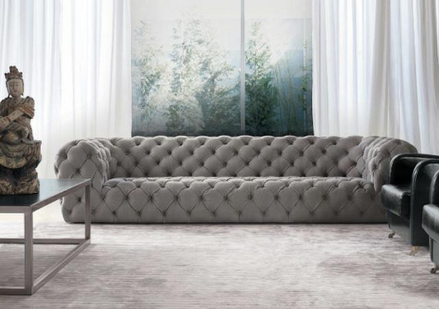 Charmant White Tufted Sofa