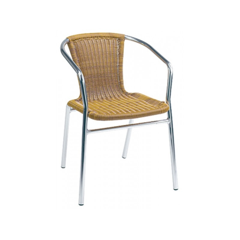 Wicker Stacking Arm Chairs