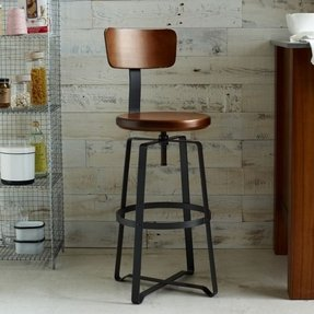 Adjustable industrial stool with back 2