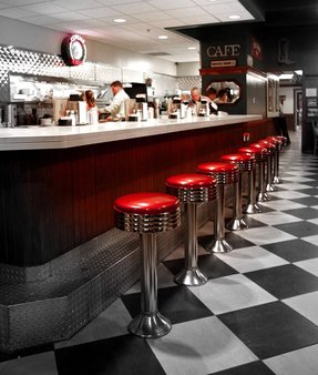 Black and white checkered bar stools