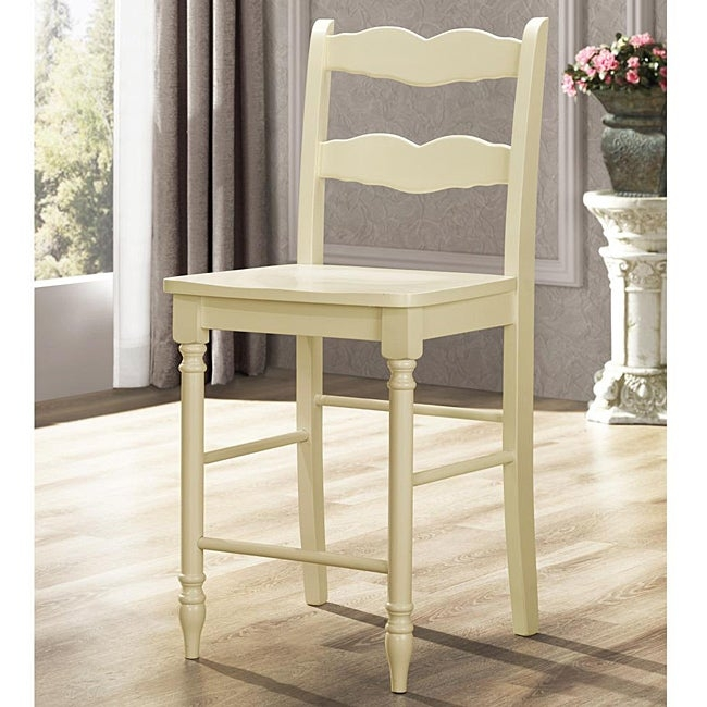 Cyprus buttercream ladder back 24 inches counter height stool