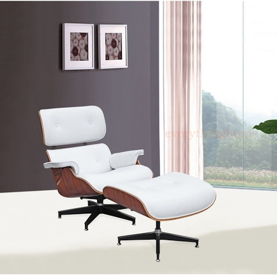 Designer Modern Classic Plywood Lounge Chair U0026 Ottoman With Palisander Base  U0026 White Leather Uphostery