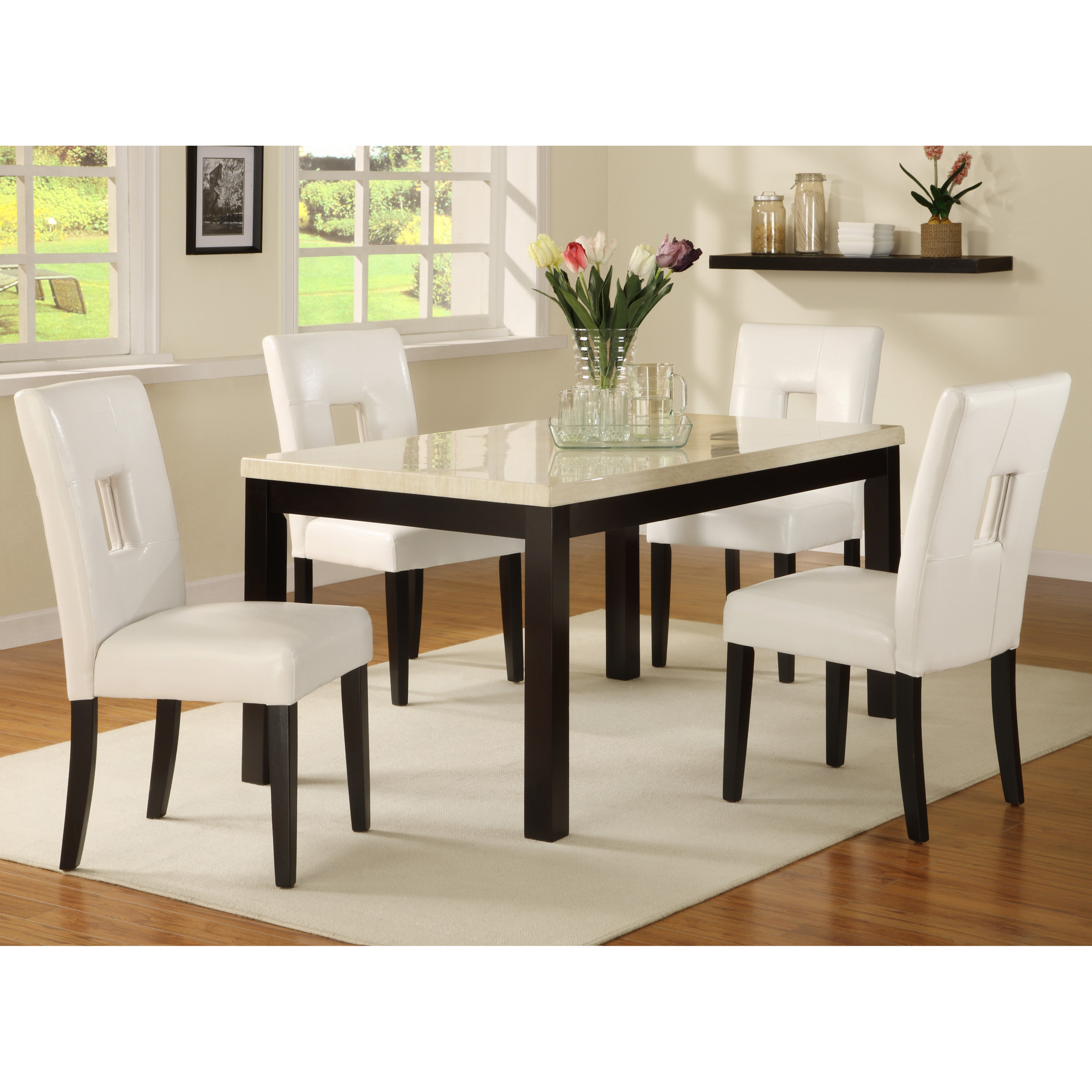 Ethan home mendoza 5 piece white 60 inch dining set