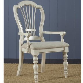 Hillsdale Furniture Hillsdale Pine Island Wheat Back Arm Chair - Set of 2, Old White, Wood