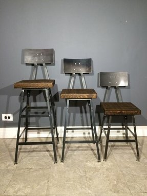 Industrial bar stool made from reclaimed