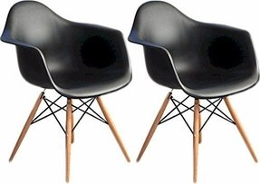 Mod Made Paris Tower Arm Chair Wood Leg, Black, Set of 2