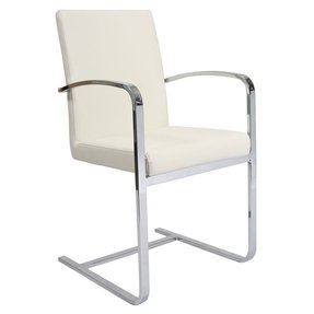 Pastel Furniture MC-117-CH-978 Monaco Arm Chair, Chrome and PU Ivory