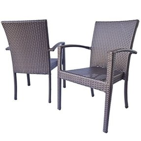 "Patio Dining Chairs with-arms, Maxime Garden Dining Chairs in Espresso Brown Wicker 19.1""x20""x36"" in Light Beige (Ivory) cushions"