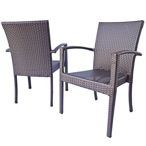 Patio Dining Chairs With Arms, Maxime Garden Dining Chairs In Espresso  Brown Wicker 19.1