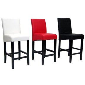 Red leather bar stools 1