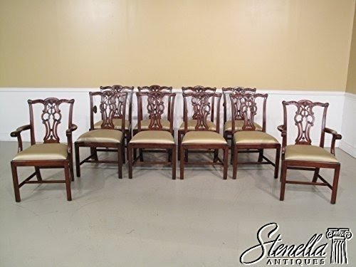 Set Of 10 Henredon Model #4031 059 Chippendale Style Mahogany Dining Chairs  ~ NEW