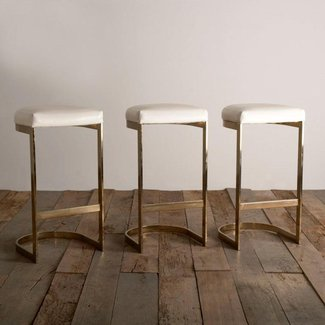 Set of three cantilvered brass framed barstools 1970s 2