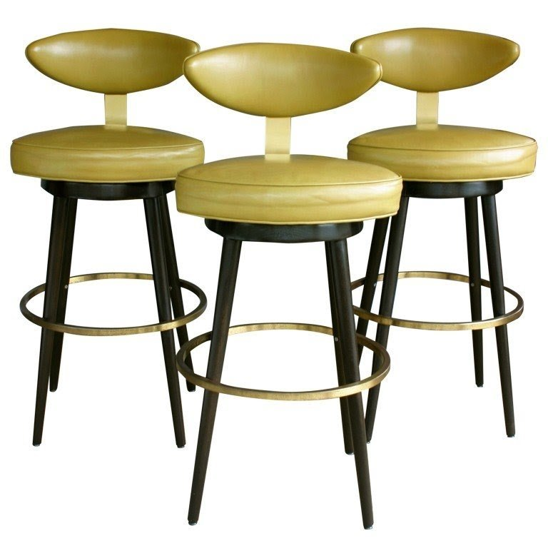 Set of three leather swivel barstools maurice baily monteverde young