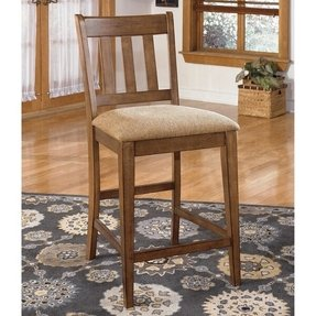 Signature design by ashley brazenton brown ladderback upholstered bar stool