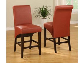 Sleigh back burnt orange counter stool set of 2