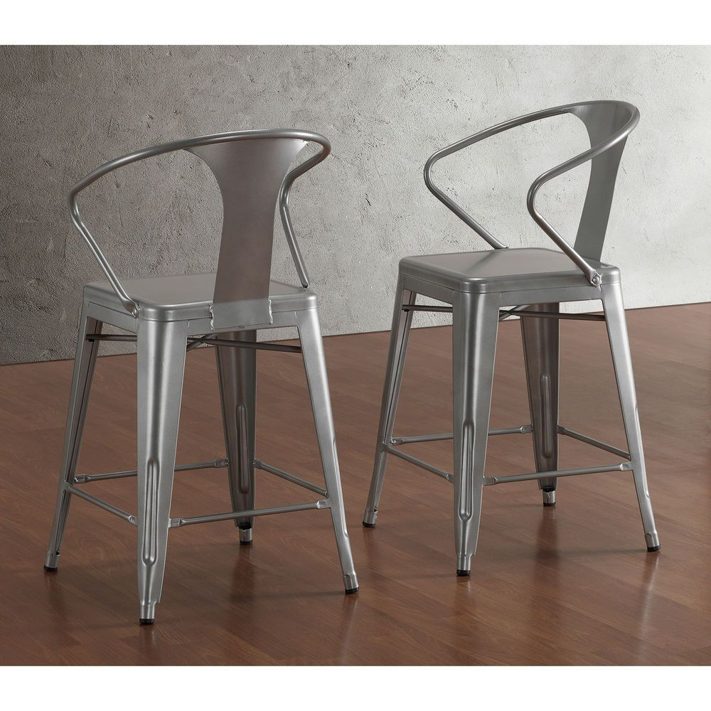 Tabouret Silver With Back 24 Inch Counter Stools Set Of