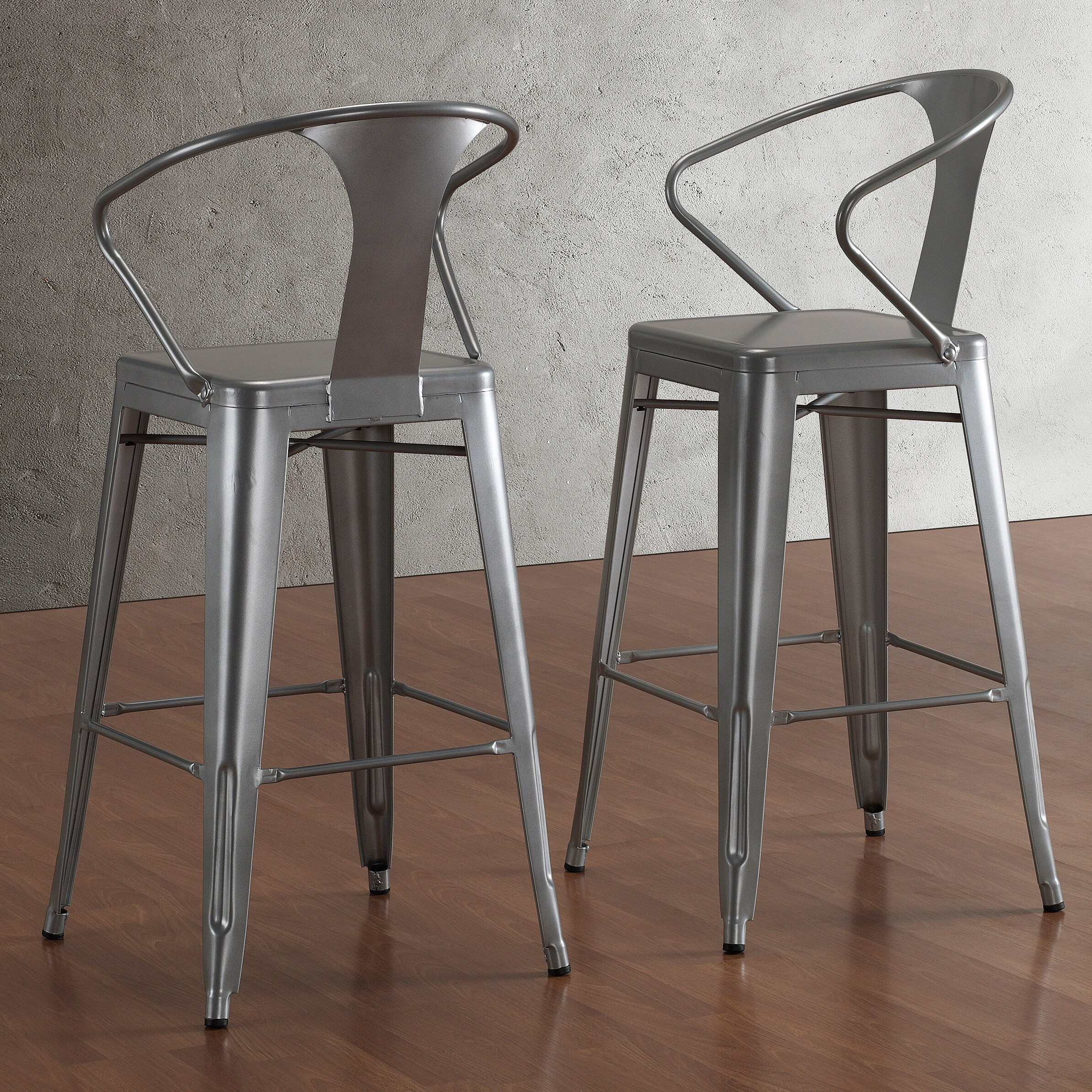Tabouret Silver With Back 30 Inch Bar Stools Set Of 2