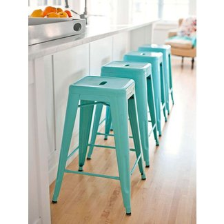Turquoise bar stools kitchen