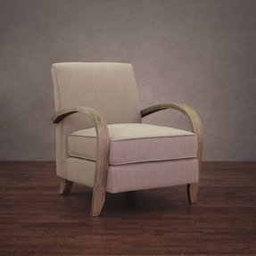 Comfortable Modern Beige Upholstered Fabric Linen Armchair Accent Arm Chair