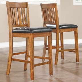 Devlin mission style oak 24 inch barstools set of 2