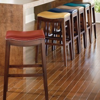 Espresso leather bar stool