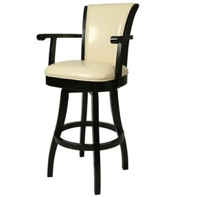 Glenwood 30 inch wood cream leather swivel counter stool 1