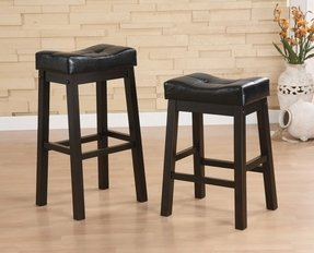 Hadden bicast leather tufted saddle counter stools set of 2