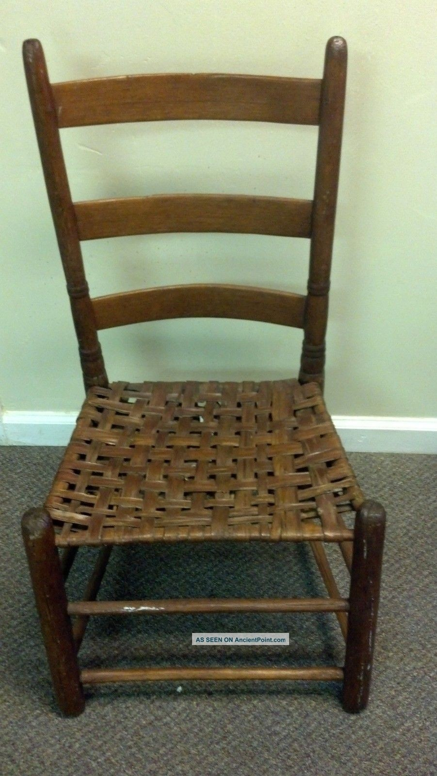 Ladder Back Stool Woven Seat