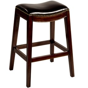 Leather saddle bar stool 1