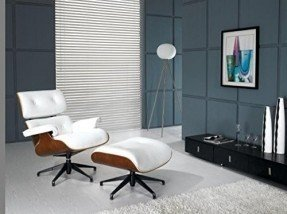 MLF Eames Lounge Chair & Ottoman + Isamu Noguchi Table (48 Sets) (Chair: White Aniline Leather + Paliander, Table: Black Birch Wood)
