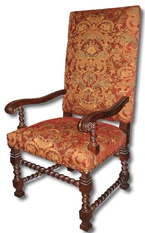 New Arm Chair Italian Tuscan Tall Square Back Red Fabric Rope Carved Wood Legs