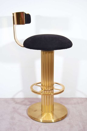 Pair of mid century solid brass bar stools 1
