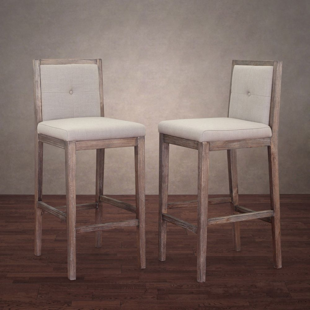 Patterson Beige Linen Barstools Set Of 2