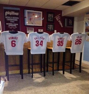 Phillies man cave phillies jersey shirts bar stools sports home