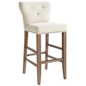 Prague fabric linen barstool reclaimed wood 1