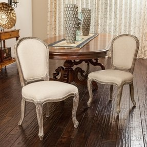 Queen Ann Weathered Oak Beige Armless Dining Chairs (set of 2)