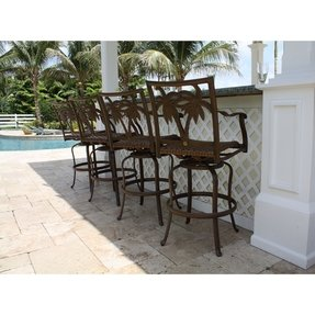 Rattan coco tropical palm patio swivel bar stool set of