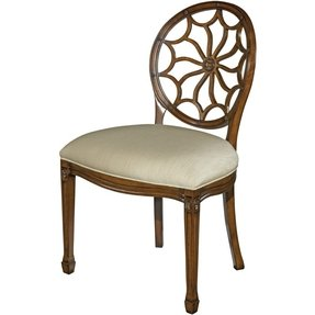 Set 6 New Hepplewhite Dining Side Chair Spiderweb Pierced Back Upholstered