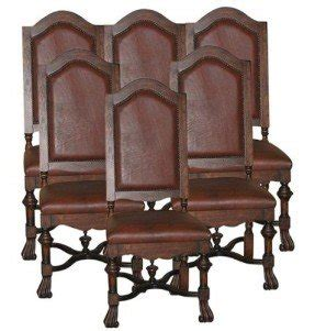 Set/6 New High Back Chairs French Country Distressed Walnut Leather