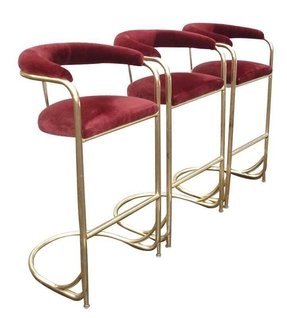 Set of 3 vintage brass bar stools shelby williams