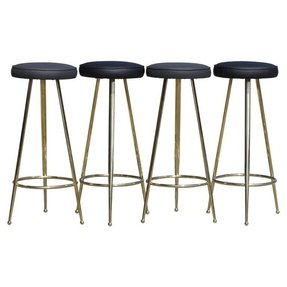 Set of four italian brass bar stools