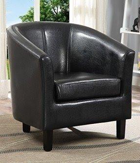 Simpli Home Austin Faux Leather Accent Tub Chair, 29.92 by 29.92-Inch, Espresso