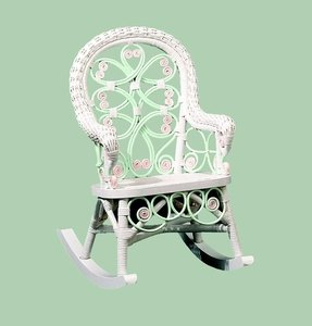 Victorian Child's Rocking Chair Finish: Green / Pink