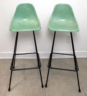 Vintage Eames Era Mid Century Molded Fibergl Plastic Bar Stools