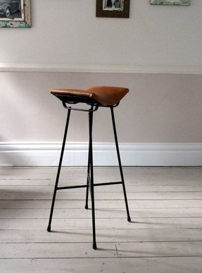 Vintage leather cafe saddle stool bar