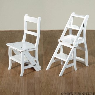 White Convertible Ladder Chair Library Step Stool