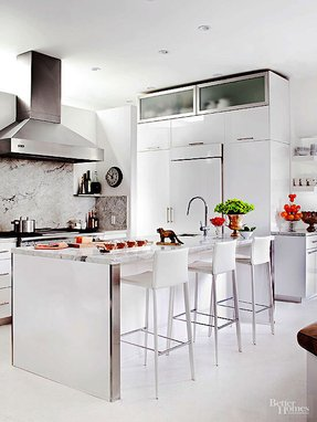 White leather counter stools
