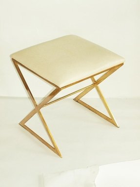 Worlds away x upholstered stool in gold and white ostrich