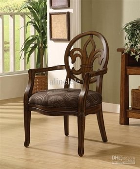 Fleur de Lis Wood Chocolate Dining Chair With Cut Out Back Rest. This Accent Arm Chair will Add Class To Your Dining Room Or Use As Comfortable Living Room Furniture. Upholstered In Chocolate-Colored Polyester Velvet With Swirling Dot And Circle Pattern