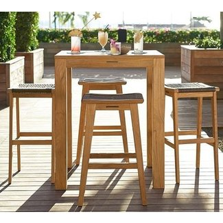 Madera Teak Square Fixed Bar Height Table Palmer Barstool Set